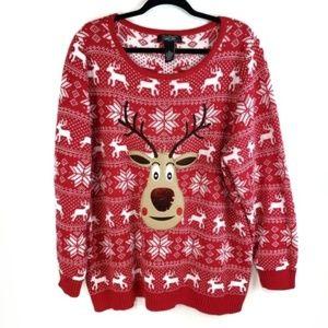 Christmas sweater Scoop Neck Sequin Reindeer 2x